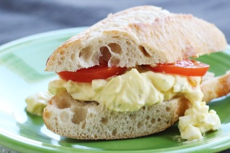 Egg Salad with Greek Yogurt and Dill Sandwich