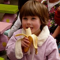 Ruby eating a banana
